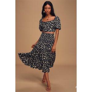 Lulus Pretty Fresh Navy Blue Floral Top/Skirt Set